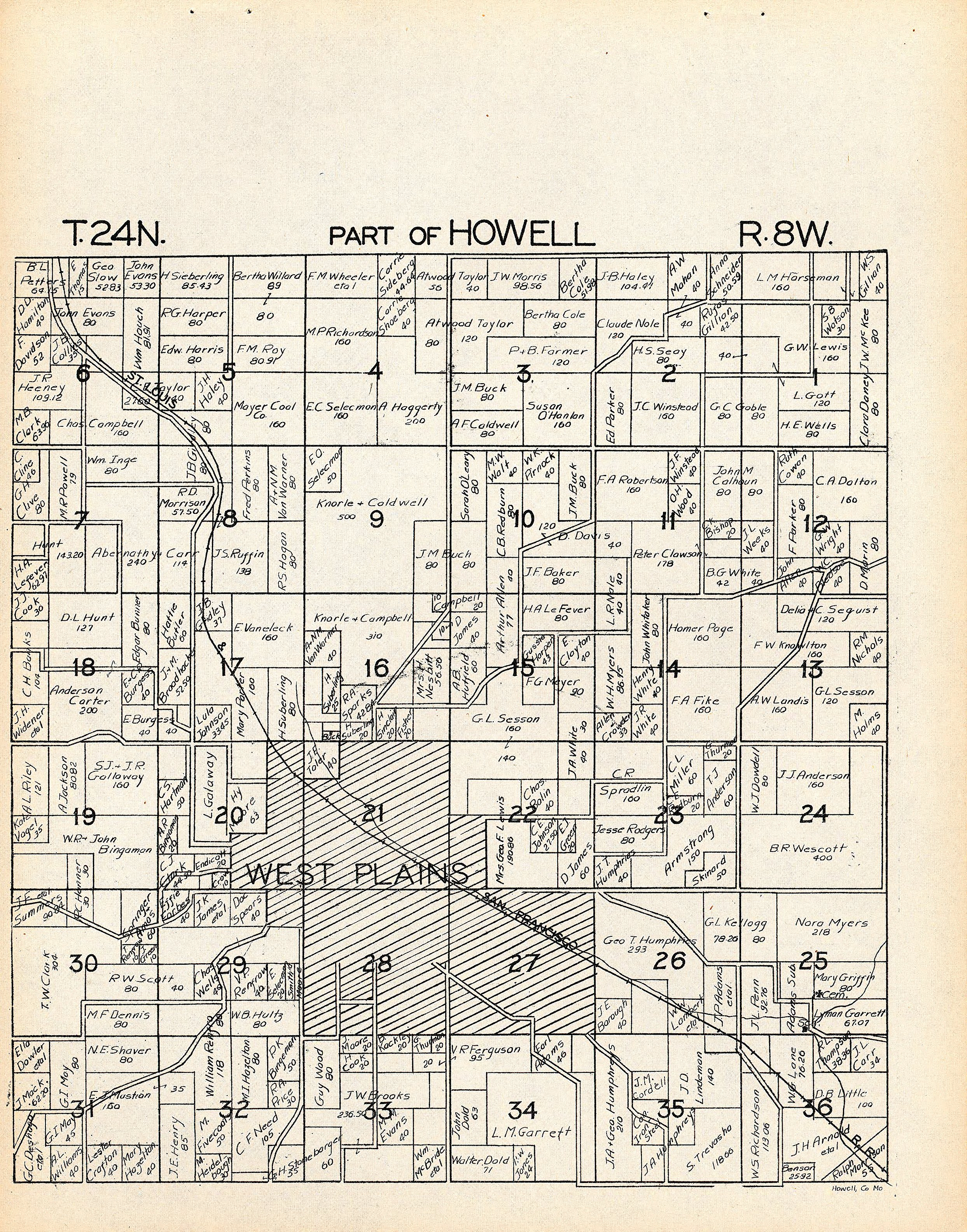 1930 Howell Valley Plat Map