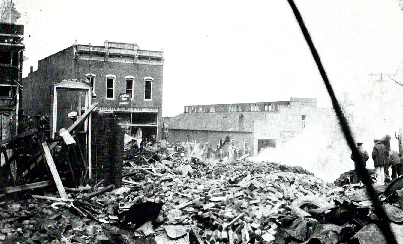 Aftermath of the explosion in downtown West Plains