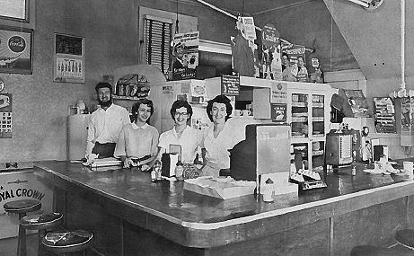The staff of the Ozark Cafe in 1952.
